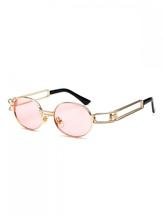 shops Round Shape Alloy Frame Sunglasses - PINK