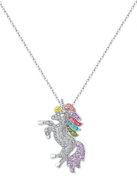 buy Rhinestone Unicorn Necklace - SILVER