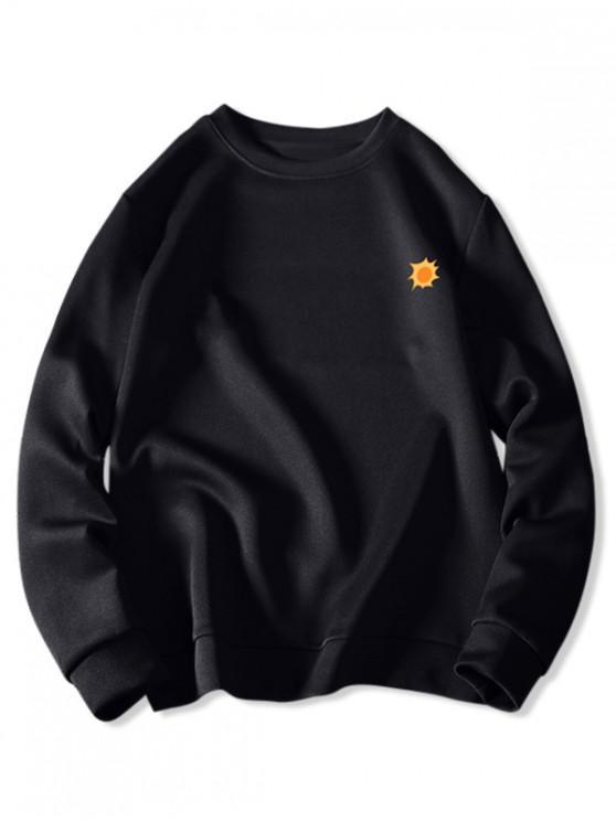 buy Tiny Sun Print Solid Pullover Sweatshirt - BLACK L