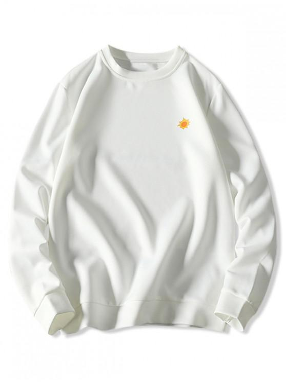 outfit Tiny Sun Print Solid Pullover Sweatshirt - WHITE M