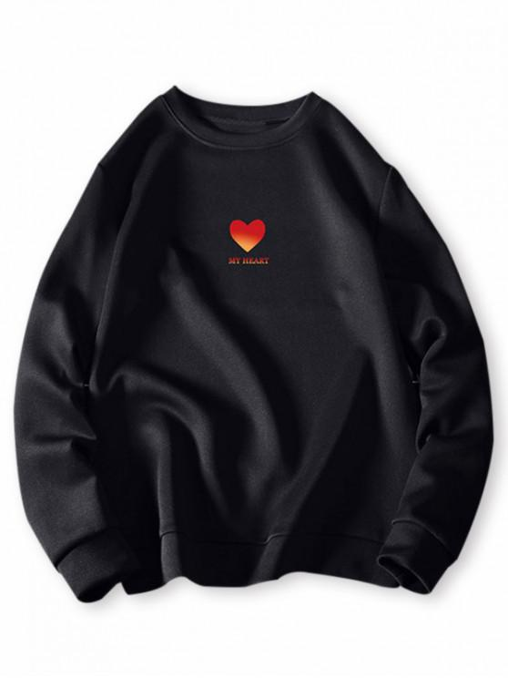 outfits Heart Letter Graphic Print Pullover Sweatshirt - BLACK 4XL