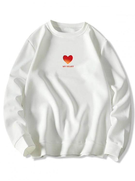 women Heart Letter Graphic Print Pullover Sweatshirt - WHITE 4XL