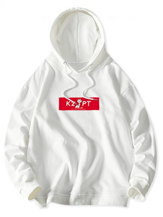 fashion Cat Letter Colorblock Print Casual Drawstring Hoodie - WHITE XL
