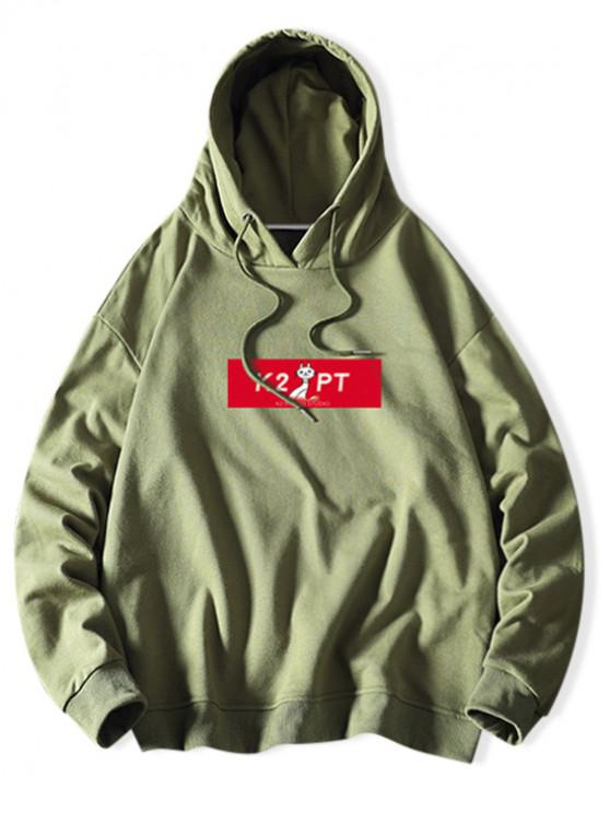 affordable Cat Letter Colorblock Print Casual Drawstring Hoodie - SEA GREEN XL