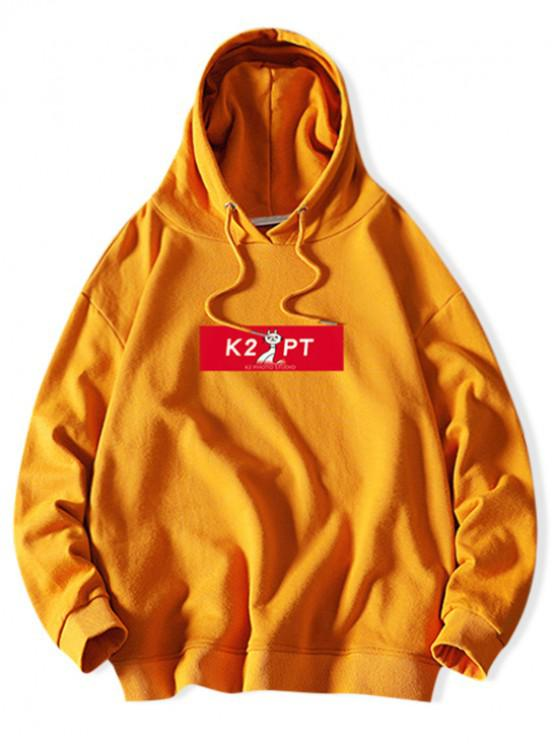ladies Cat Letter Colorblock Print Casual Drawstring Hoodie - BRIGHT YELLOW XL