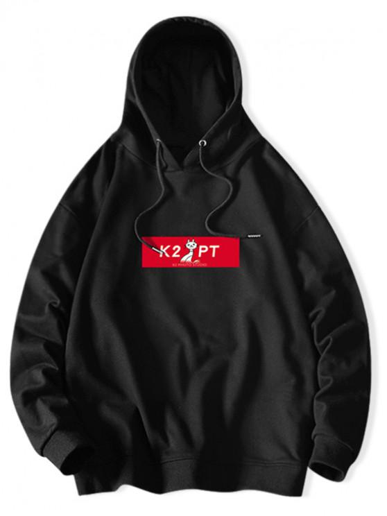 hot Cat Letter Colorblock Print Casual Drawstring Hoodie - BLACK XL