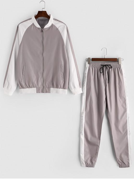 chic Colorblock Spliced Raglan Sleeve Jacket and Jogger Pants - GRAY CLOUD S