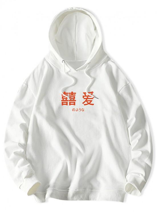 shop Letter Graphic Print Solid Drawstring Hoodie - WHITE XL