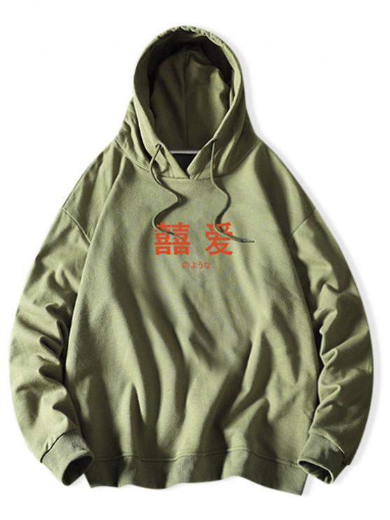 fashion Letter Graphic Print Solid Drawstring Hoodie - SEA GREEN L