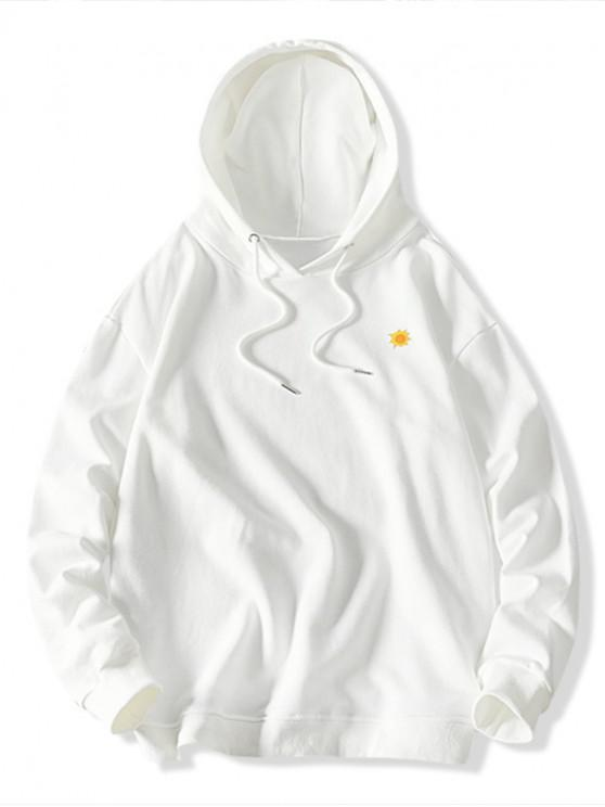 chic Weather Pattern Print Drawstring Hoodie - WHITE L