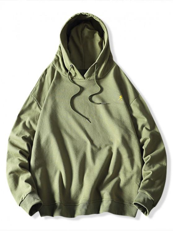 affordable Weather Pattern Print Drawstring Hoodie - SEA GREEN M