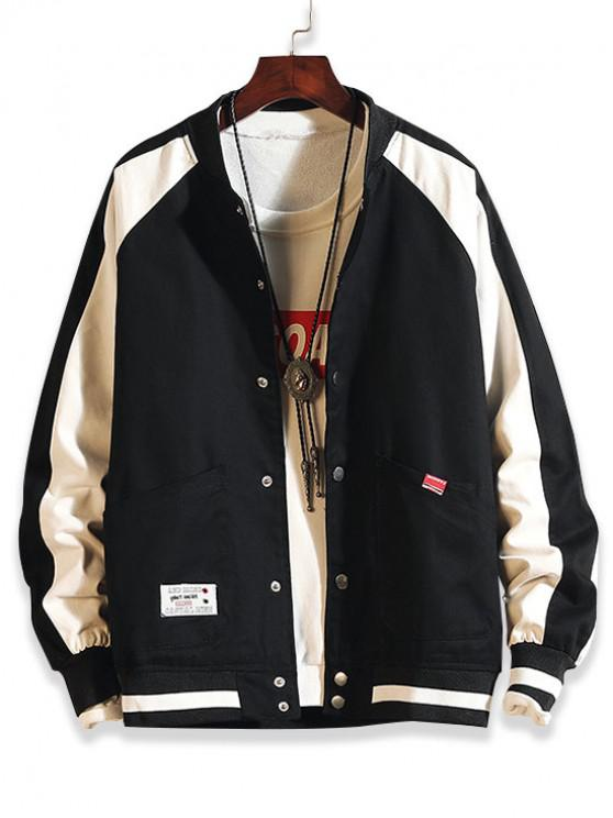 chic Color Spliced Button Up Pocket Jacket - BLACK XL