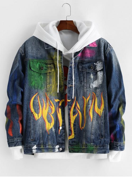 best Tie Dye Painting Printed Denim Jacket - MULTI-A 4XL