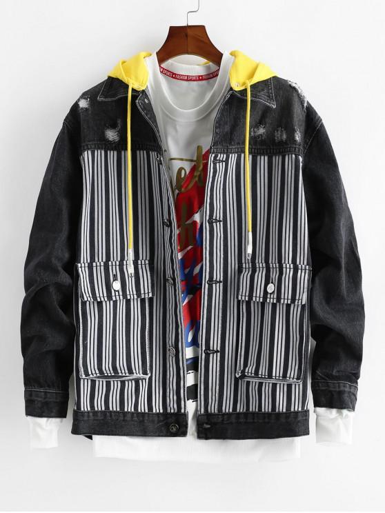 new Striped Pattern Pocket Decorated Denim Jacket - DENIM DARK BLUE S