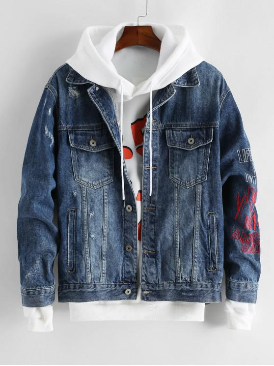 fashion Letter Embroidered Button Up Denim Jacket - DENIM DARK BLUE XL