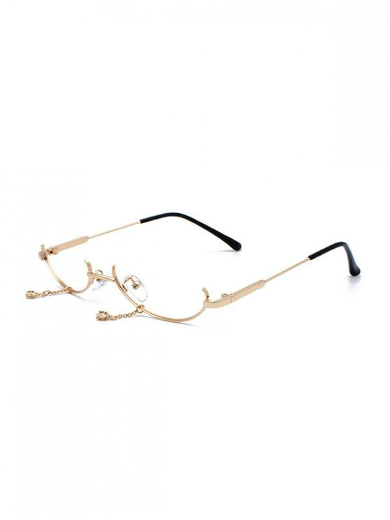 hot Metal Pendant Semi-rimless Glasses Frame - GOLD
