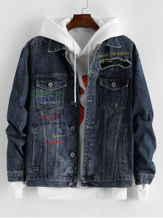 trendy Pocket Design Letter Embroidered Denim Jacket - DENIM DARK BLUE XL