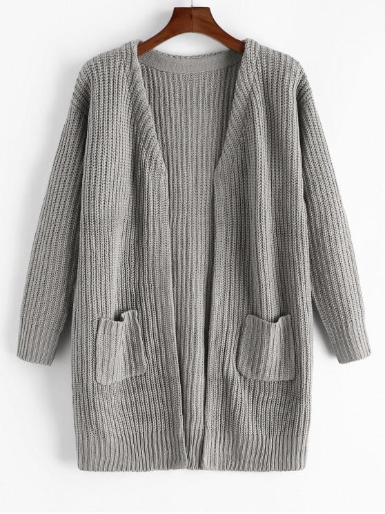 sale Plain Open Front Pockets Longline Cardigan - GRAY M