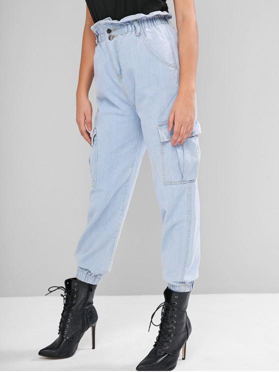 unique Flap Pockets Jogger Paperbag Jeans - JEANS BLUE L