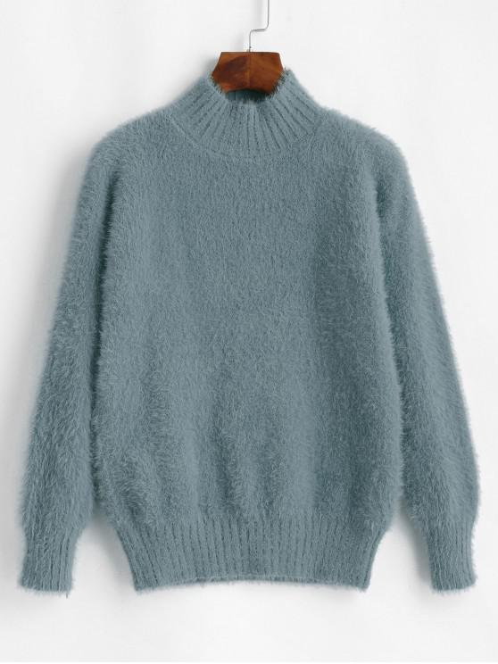 outfits Fuzzy High Neck Sweater - BLUE GRAY ONE SIZE