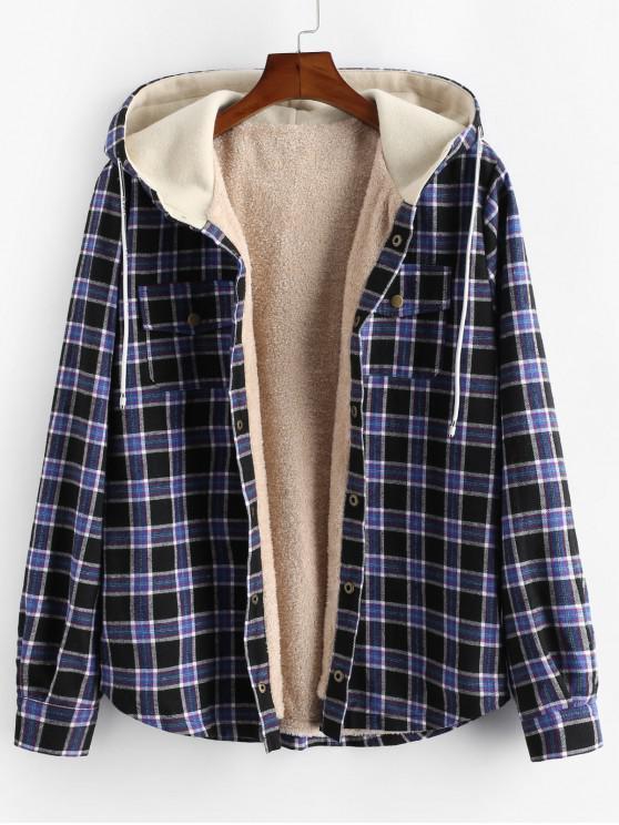 womens Plaid Chest Pocket Fleece Drawstring Hooded Jacket - BLACK 2XL