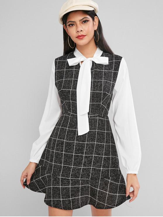 online Bow Tie Plaid Flounce Lantern Sleeve Dress - BLACK L