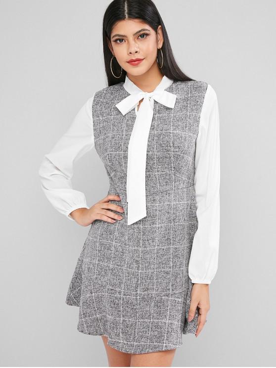 outfit Bow Tie Plaid Flounce Lantern Sleeve Dress - GRAY L