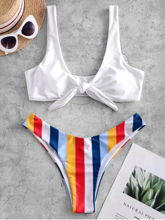 women's ZAFUL Striped Knotted High Cut Bikini Swimsuit - WHITE S