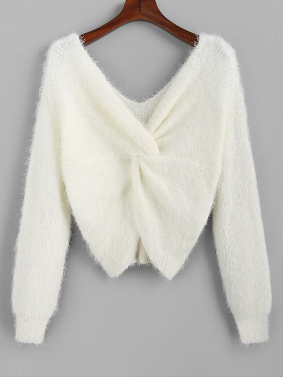 best ZAFUL Twisted Plunging Fuzzy Sweater - WHITE L