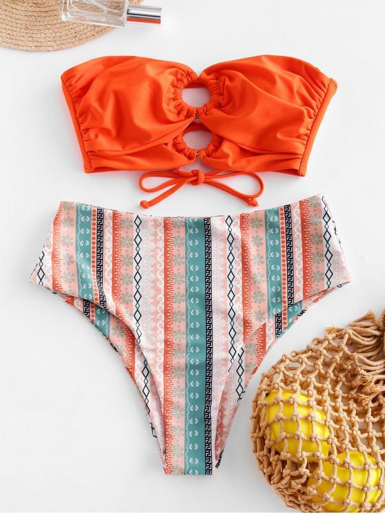 women ZAFUL O-ring Cross Print High Cut Bandeau Swimsuit - ORANGE 2XL