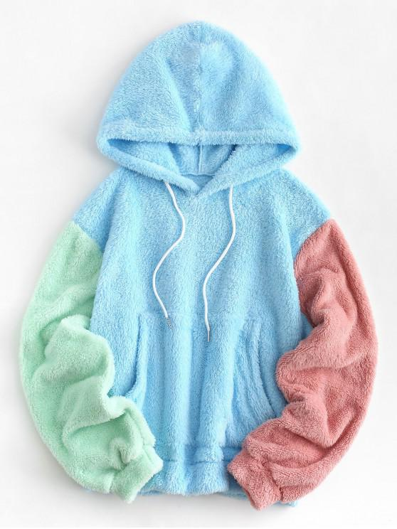 fashion Drawstring Front Pocket Colorblock Fluffy Hoodie - DAY SKY BLUE L