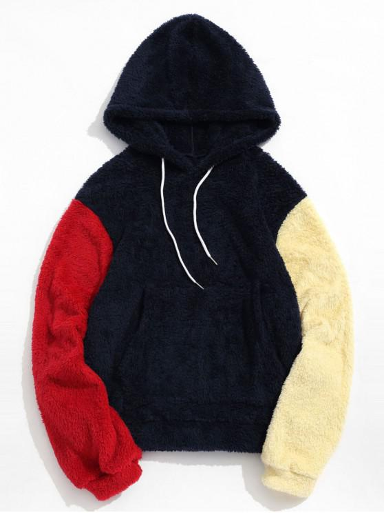 affordable Drawstring Front Pocket Colorblock Fluffy Hoodie - DARK SLATE BLUE XL