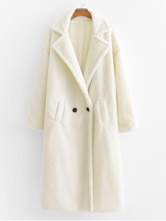 outfit Pockets Lapel Double Breasted Teddy Coat - WHITE L
