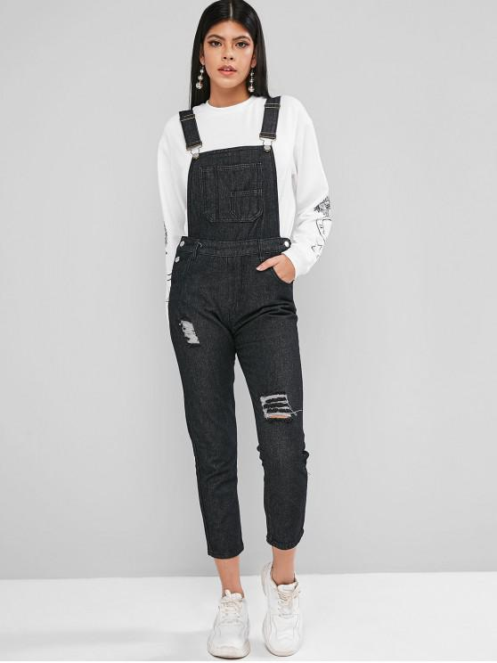 buy Distressed Pockets Denim Overalls Jumpsuit - BLACK 2XL
