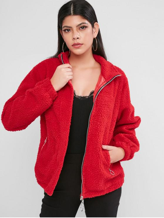 ladies Zip Front Zippered Pockets Teddy Jacket - RED S