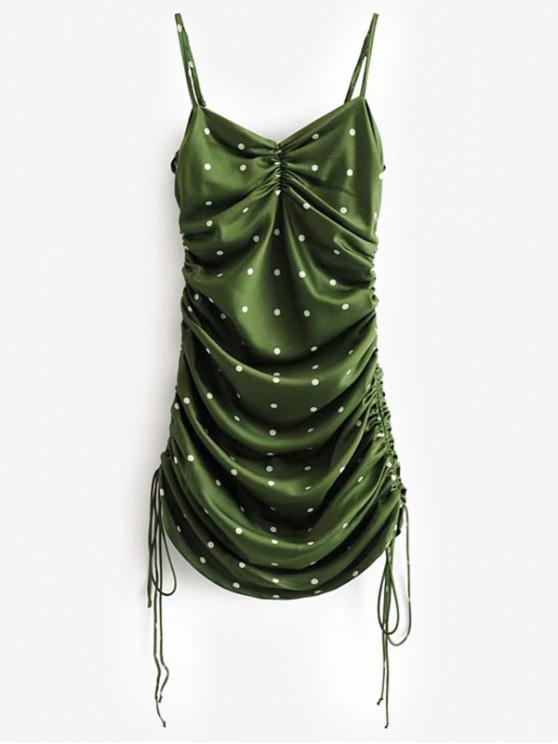 outfits Cinched Side Polka Dot Cami Mini Dress - GREEN M