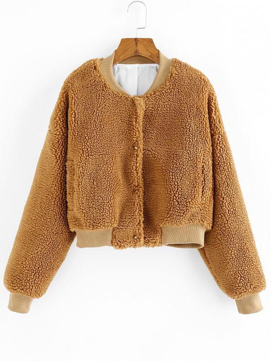 ladies ZAFUL Drop Shoulder Faux Fur Fuzzy Coat - TAN L