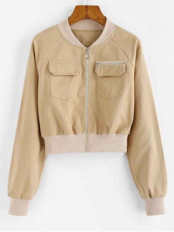 fancy ZAFUL Front Pockets Cropped Jacket - APRICOT XL