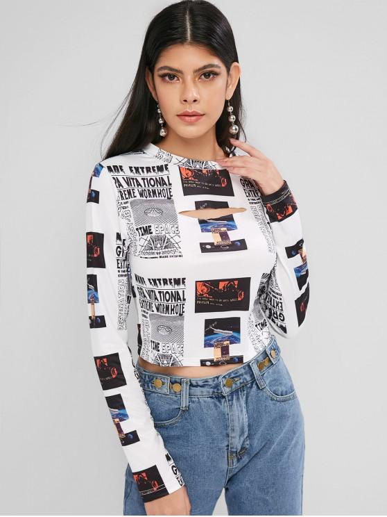 unique ZAFUL Cropped Printed Cut Out Tee - MULTI S