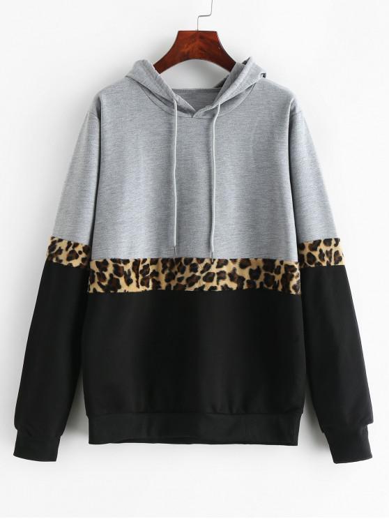 womens Leopard Trim Colorblock Drawstring Hoodie - MULTI M