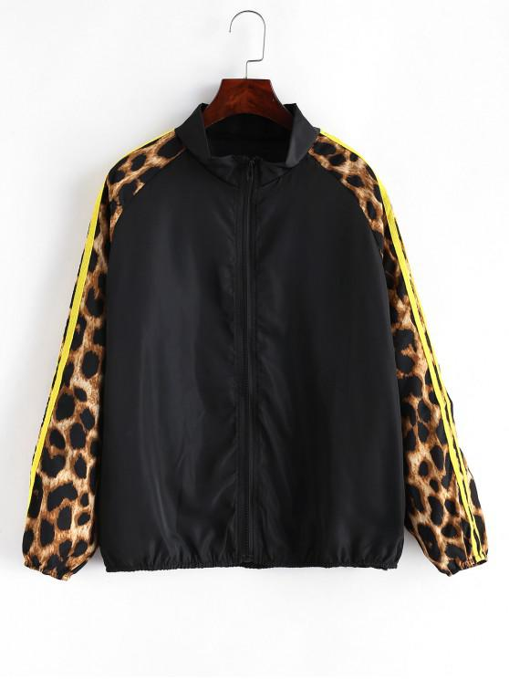 Side listrado Leopard Print Zip Up Jacket - Preto M