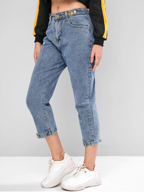 ladies Tab Hem High Waisted Tapered Jeans - JEANS BLUE S