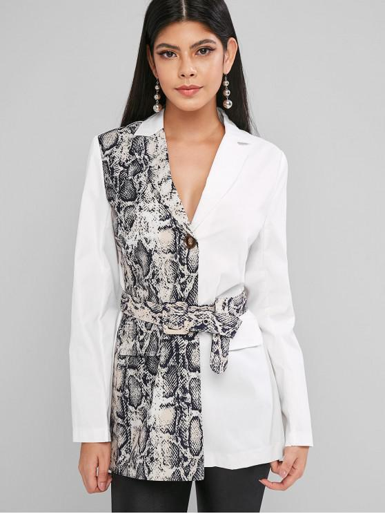 ladies Snake Print Lapel Two Button Belted Blazer - WHITE XL