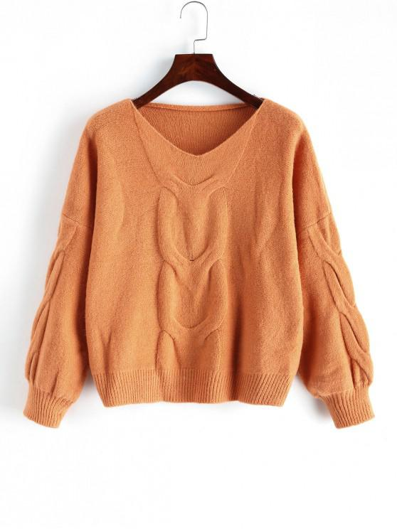 sale Lantern Sleeves Cable Knit V Neck Sweater - ORANGE ONE SIZE