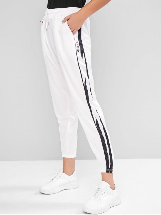 Pantalon de Jogging Lettre Graphique à Taille Haute à Cordon - Blanc M