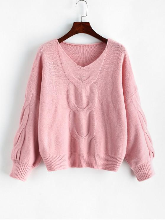 shops Lantern Sleeves Cable Knit V Neck Sweater - PINK ONE SIZE