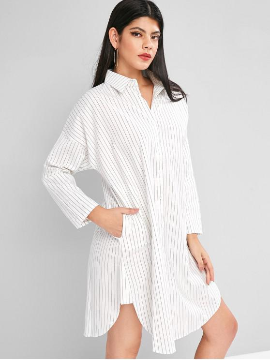 latest Button Down Long Sleeve Stripes Shirt Dress - WHITE XL