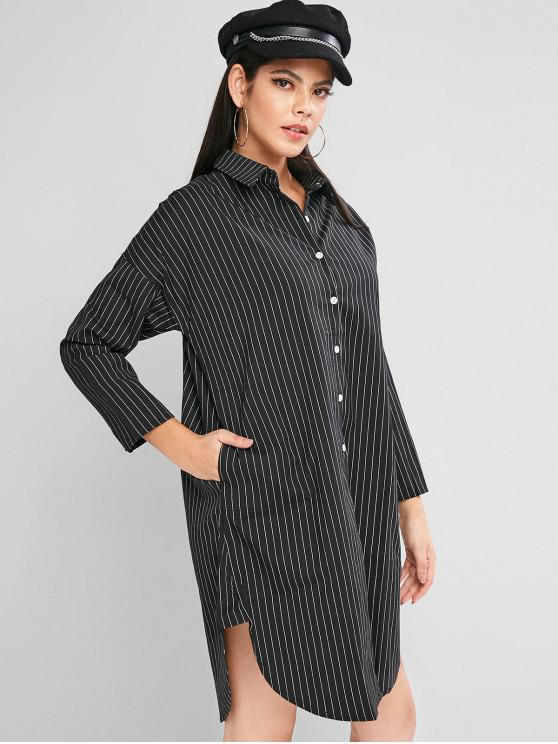 outfits Button Down Long Sleeve Stripes Shirt Dress - BLACK M