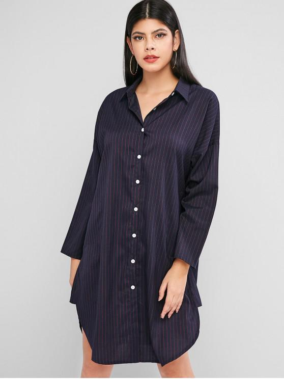 lady Button Down Long Sleeve Stripes Shirt Dress - DARK SLATE BLUE XL