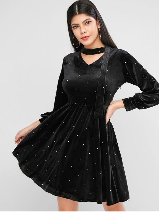 Mini Robe Brillante à Manches Longues à Pois en Velours - Noir S